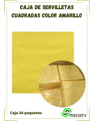 Servilletas papel celulosa amarilla cuadrada eventos manipulados macserv frailes