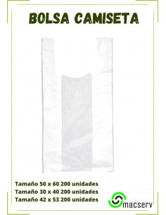 Bolsa De Plástico Blanca Con Asas. Muy útiles para El Transporte De Productos. Manipulados Macserv Frailes
